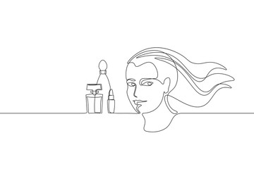 Continuous one single line art girl face concept. Beautiful woman portrait make up perfume hand drawn sketch. Beauty happy smiling young lady side head black white vector illustration