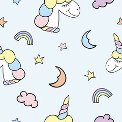 Cute seamless pattern with unicorns and sky. Suitable for fabric, wrapping paper and girls's background.