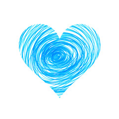 Abstract blue heart on white background