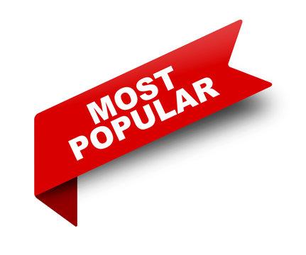 red vector banner ribbon most popular