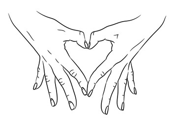 Heart love symbol composed of two hands palms black brush lines on white background. Vector illustration.