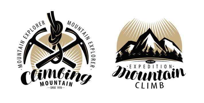 Mountaineering, climbing logo or label. Expedition, mountain climb emblem. Vintage lettering vector