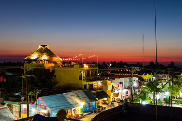 Sunset over Isla Holbox town centre, Mexico