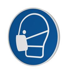 Gebotszeichen ASR A1.3: Maske benutzen, 3d Render