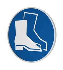 Gebotszeichen ASR A1.3: Fußschutz benutzen, 3d Render