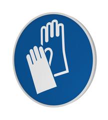 Gebotszeichen ASR A1.3: Handschutz benutzen, 3d Render