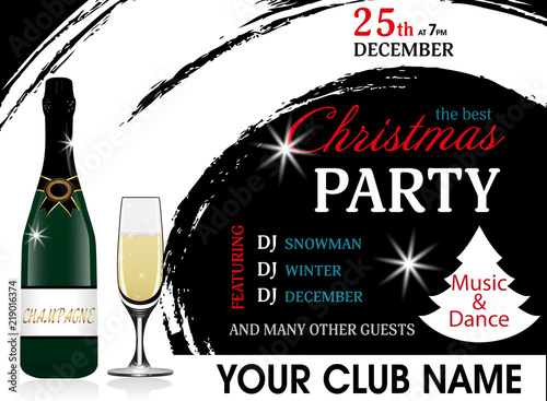 christmas party invitation template with champagne bottle and wineglass new year background vector
