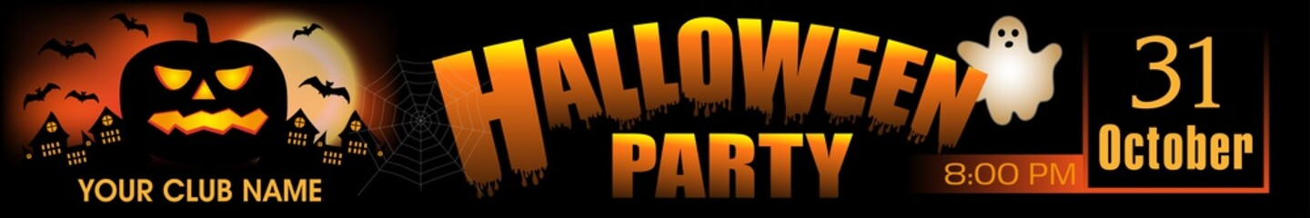 Halloween Party banner. Background with pumpkin and ghost. Vector