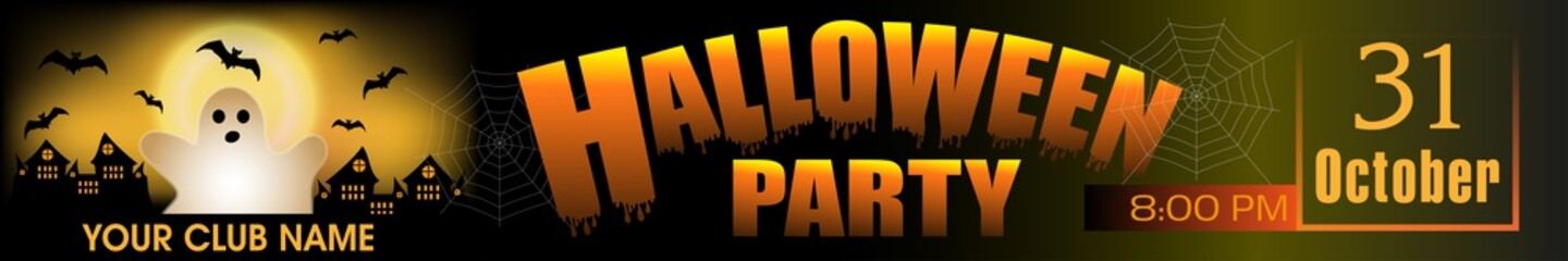 Halloween Party banner. Background with ghost and bats. Vector