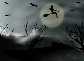Halloween background with flying young witch and full moon. Fantasy night panoramic view. Vector