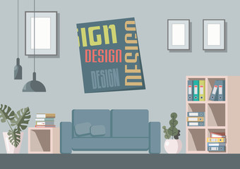 Vector image of the interior, various rooms with furniture and other accessories.  Front image, good for games, applications or for the design of booklets, banners and brochures.