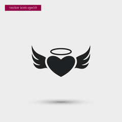 Angel heart icon. Simple romance element illustration. Valentine symbol design from love collection. Can be used in web and mobile.
