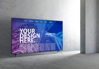 Smart TV Mockup in an Empty Room