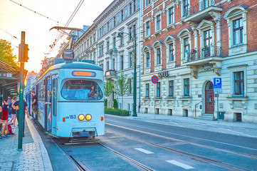The retro styled trams in Krakow, Poland