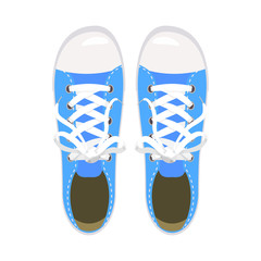 Sports shoes, gym shoes, keds, blue colors, for sports and in daily life, fashion, vector, illustration, isolated