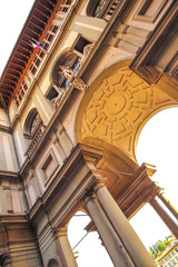 View on the historic architecture in Florence, Italy on a sunny day.
