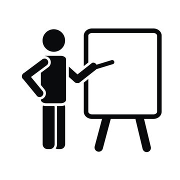 simple black icon pictogram of man figure with flipchart, teacher,training or lecture concept