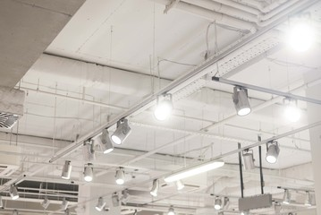 industry reflectors on ceiling