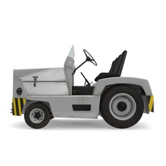 Diesel Aircraft Tow Tractor on white. 3D illustration isolated on white background, side view