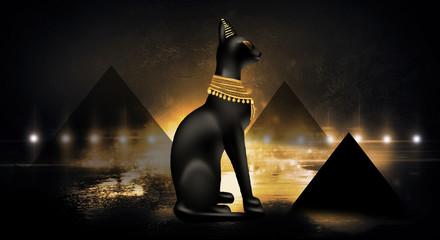 Egyptian asbstract background, goddess of Egypt Bastet, abstract dark bokeh background