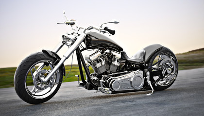 Custom black motorcycle on the open road. 3d rendering