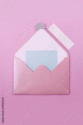 Pink Open Envelope Letter With A Wax Seal And A Paper Label For