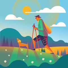 man hiking with his dog illustration