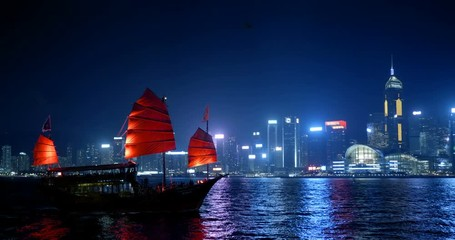 Fotomurales - Hong Kong at night, Victoria Harbor