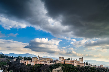 Cityscape of Granada, Spain, with the Alhambra Palace in the background