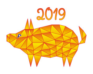 Colorful polygonal drawing. The pig is a symbol of 2019. Vector picture.