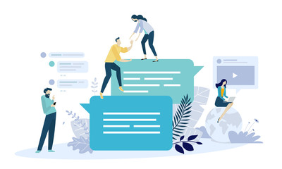 Vector illustration concept of online communication, social media, networking, community group. Creative flat design for web banner, marketing material, business presentation.