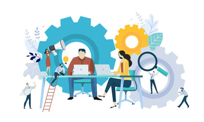 Vector illustration concept of teamwork, project management, workflow, business mechanism, research and development. Creative flat design for web banner, marketing material, business presentation.