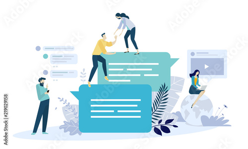 vector illustration concept of online communication social media