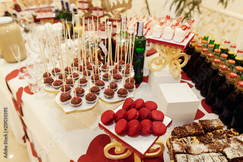 Stylish Candy Bar With Sweets And Drinks At Luxury Wedding Reception Catering Restaurant