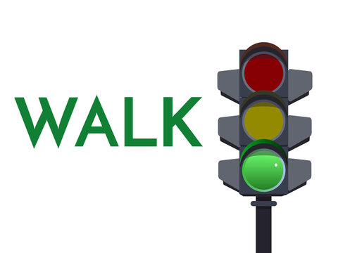 Traffic light green signals. Walk Go Flat illustration. Safety infographic. Vector image of semaphore with text on white background.