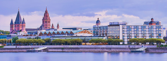 cityscape of Mainz in the evening light, banner