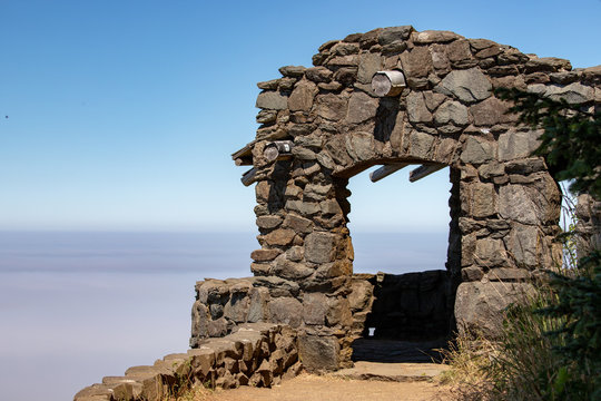 Stone House at Overlook in the Fog over the Pacific Ocean at Cape Perpetua Scenic Area near Yachats in Central Oregon in the Pacific Northwest USA
