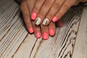 fashion manicure design on a beautiful texture