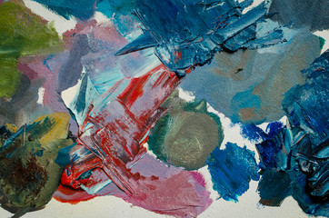 Texture mixed oil paints in different colors