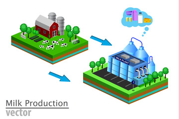 Dairy product delivery stages milk can processing