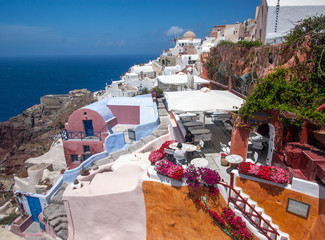 Aluminium Prints European Famous Place Santorini Oia Holiday Greece