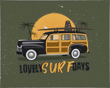 Vintage Surfing Emblem with retro woodie car. Lovely surf days typography. Included surfboards, palms and sun symbols. Good for T-Shirt, mugs. Stock vector isolated on grunge background