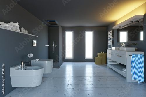 Bagno moderno arredamento completo di sanitari doccia e