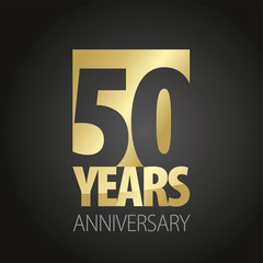 50 Years Anniversary gold black logo icon banner