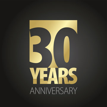 30 Years Anniversary gold black logo icon banner