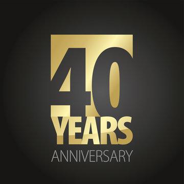 40 Years Anniversary gold black logo icon banner