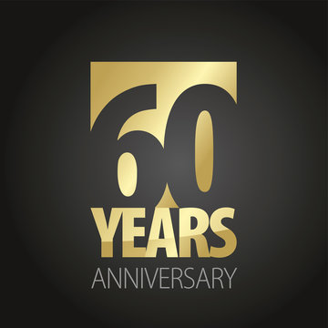 60 Years Anniversary gold black logo icon banner