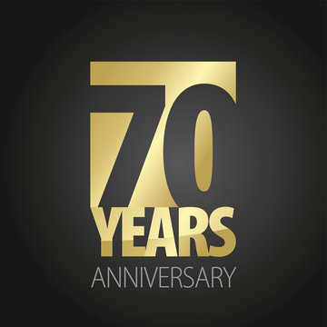 70 Years Anniversary gold black logo icon banner