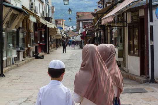 Muslim children in old part of Skopje