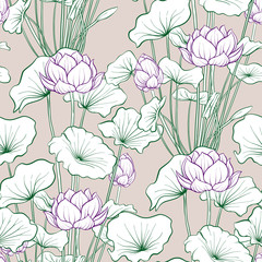 Seamless pattern, background with lotus flower. Botanical illust
